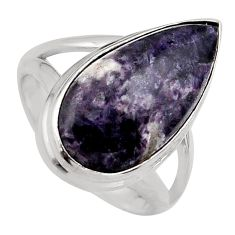 8.77cts natural purple lepidolite 925 silver solitaire ring size 7 p95149