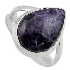 925 silver 7.53cts natural purple lepidolite pear solitaire ring size 6.5 p95150