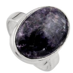 9.99cts natural purple lepidolite 925 silver solitaire ring size 6.5 p95151