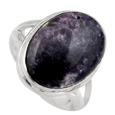 14.09cts natural purple lepidolite 925 silver solitaire ring size 7.5 p95152