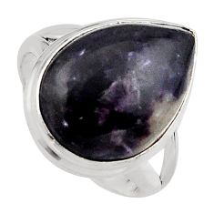11.66cts natural purple lepidolite 925 silver solitaire ring size 6.5 p95153