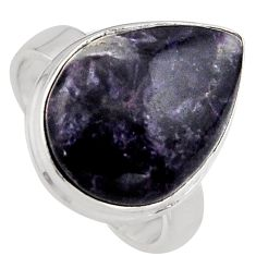 12.65cts natural purple lepidolite 925 silver solitaire ring size 7 p95154