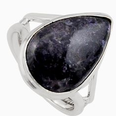 925 silver 9.99cts natural purple lepidolite pear solitaire ring size 6.5 p95155