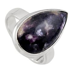 7.33cts natural purple lepidolite 925 silver solitaire ring size 7 p95156
