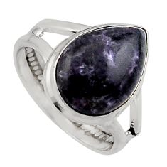 6.57cts natural purple lepidolite 925 silver solitaire ring size 7 p95157