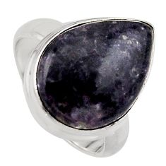 14.23cts natural purple lepidolite 925 silver solitaire ring size 7 p95158