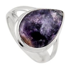 925 silver 7.25cts natural purple lepidolite solitaire ring size 6.5 p95159