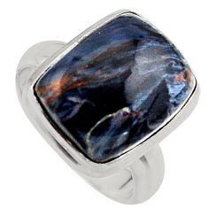 10.24cts natural black pietersite 925 silver solitaire ring size 7 p95175