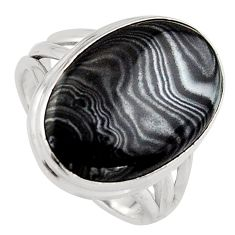 925 silver 13.77cts natural black psilomelane oval solitaire ring size 8 p95205