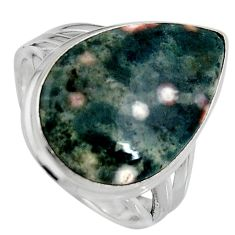 12.83cts natural ocean sea jasper 925 silver solitaire ring size 8 p95228