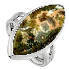 15.85cts natural ocean sea jasper 925 silver solitaire ring size 8.5 p95231