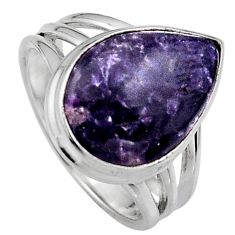 7.89cts natural purple lepidolite 925 silver solitaire ring size 7 p95236