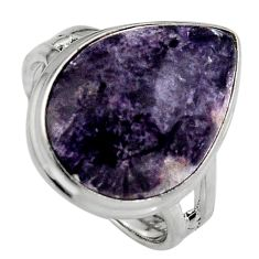 13.28cts natural purple lepidolite 925 silver solitaire ring size 8 p95237