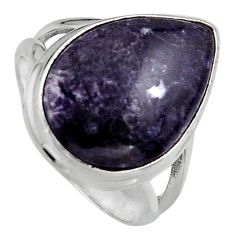 925 silver 10.81cts natural purple lepidolite solitaire ring size 7 p95239
