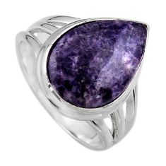 8.22cts natural purple lepidolite 925 silver solitaire ring size 7 p95240