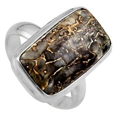12.34cts natural dinosaur bone fossilized silver solitaire ring size 8 p95244