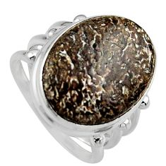 925 silver natural brown dinosaur bone fossilized solitaire ring size 8 p95245