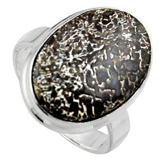 14.72cts natural dinosaur bone fossilized silver solitaire ring size 8.5 p95246