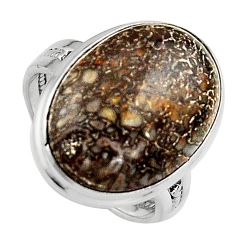 15.85cts natural dinosaur bone fossilized silver solitaire ring size 8.5 p95247