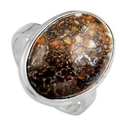 14.72cts natural dinosaur bone fossilized silver solitaire ring size 7.5 p95248