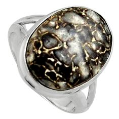 12.91cts natural dinosaur bone fossilized silver solitaire ring size 7.5 p95249