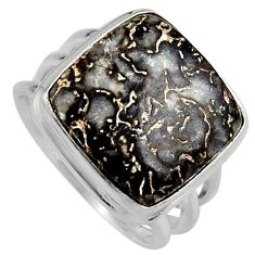 13.57cts natural dinosaur bone fossilized silver solitaire ring size 7.5 p95250