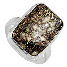 13.24cts natural dinosaur bone fossilized silver solitaire ring size 7.5 p95251