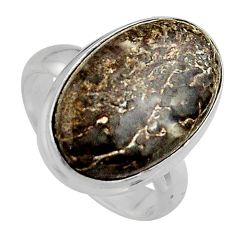 12.03cts natural dinosaur bone fossilized silver solitaire ring size 7 p95253
