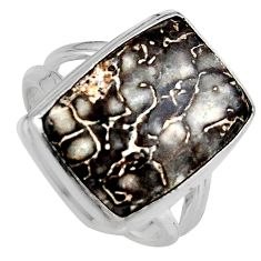 Natural brown dinosaur bone fossilized 925 silver solitaire ring size 8.5 p95254