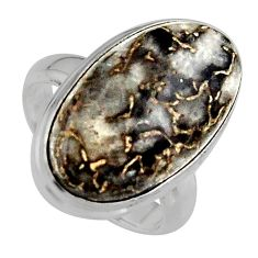 925 silver natural brown dinosaur bone fossilized solitaire ring size 7 p95256