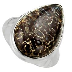 Natural brown dinosaur bone fossilized 925 silver solitaire ring size 7 p95257