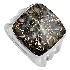 Natural brown dinosaur bone fossilized 925 silver solitaire ring size 8.5 p95258