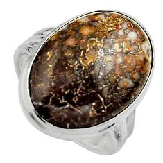 925 silver natural brown dinosaur bone fossilized solitaire ring size 8 p95259
