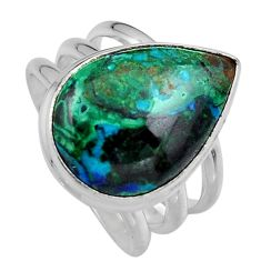 13.69cts natural green azurite malachite silver solitaire ring size 8.5 p95262