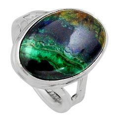 925 silver 12.83cts natural green azurite malachite solitaire ring size 7 p95264