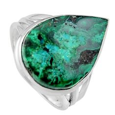 13.77cts natural green azurite malachite silver solitaire ring size 8.5 p95265