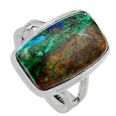 9.39cts natural green azurite malachite 925 silver solitaire ring size 7 p95266