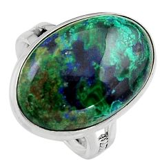15.47cts natural green azurite malachite 925 silver solitaire ring size 8 p95267