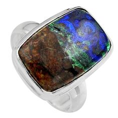 9.63cts natural green azurite malachite silver solitaire ring size 7.5 p95269