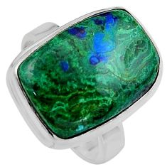 925 silver 12.83cts natural azurite malachite solitaire ring size 7.5 p95270