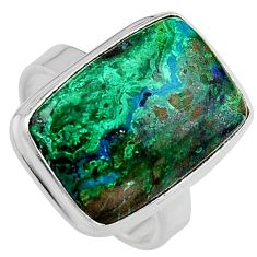 12.83cts natural green azurite malachite 925 silver solitaire ring size 8 p95277