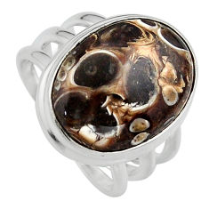 925 silver natural turritella fossil snail agate solitaire ring size 7.5 p95284