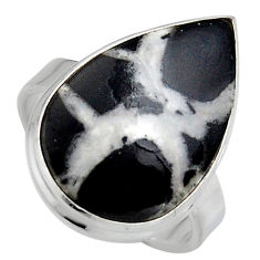 13.70cts natural black septarian gonads silver solitaire ring size 7.5 p95303