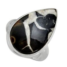 14.90cts natural black septarian gonads silver solitaire ring size 8.5 p95305