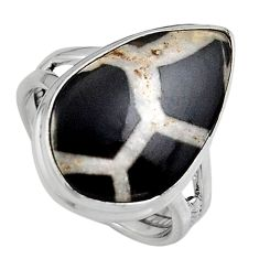 13.24cts natural black septarian gonads 925 silver solitaire ring size 8 p95306