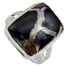 15.16cts natural black septarian gonads 925 silver solitaire ring size 9 p95307