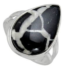 925 silver 14.26cts natural septarian gonads solitaire ring size 8.5 p95310
