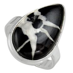 14.72cts natural black septarian gonads silver solitaire ring size 7.5 p95311