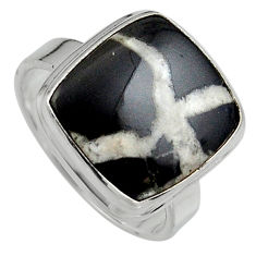 11.21cts natural black septarian gonads silver solitaire ring size 7.5 p95315