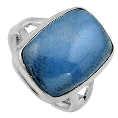 14.12cts natural blue angelite 925 silver solitaire ring jewelry size 7.5 p95361